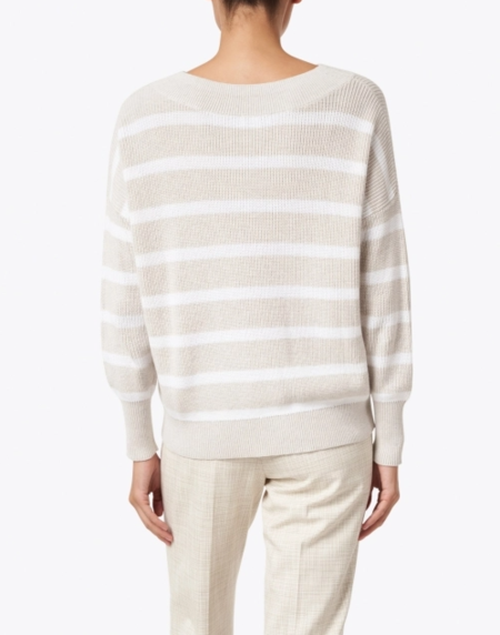 Heidi Says Rib Stripe Pullover - Beige/White Stripe