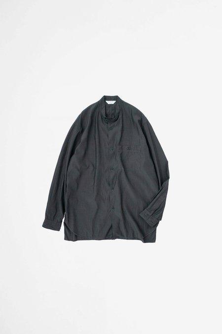 Still By Hand Band collar shirt - ink black