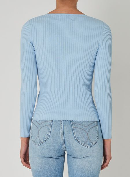 Rollas Classic Rib Sweater - Sky Blue