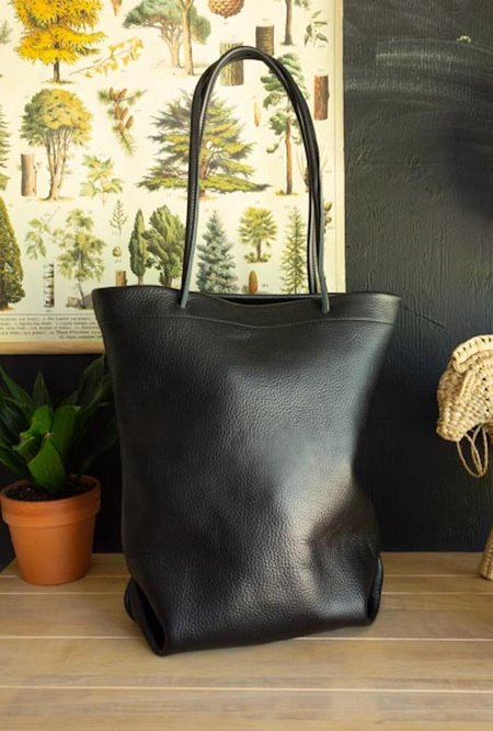 maad goods Leather Long Tote - Black