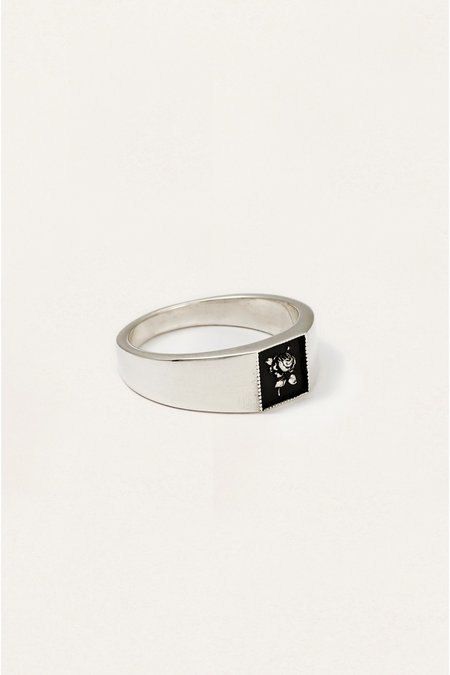 The Silver Stone ROSE SIGNET RING