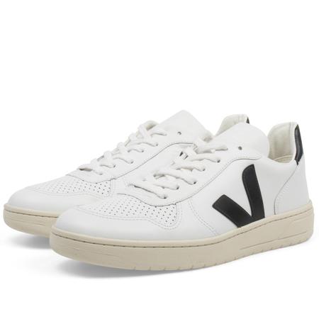 Veja V-10 leather Sneakers - White/Black