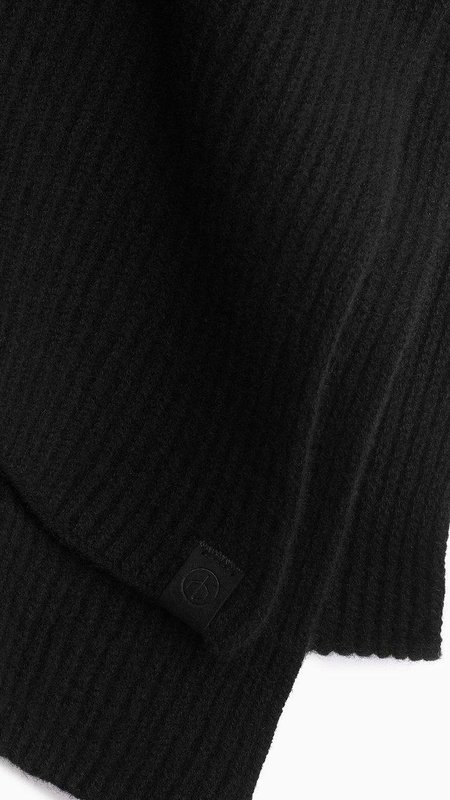 Rag & Bone Ace Cashmere Ribbed Scarf - black