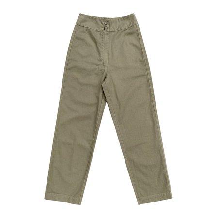 Ali Golden Cotton Fly Front Pant W/ Pockets - Khaki