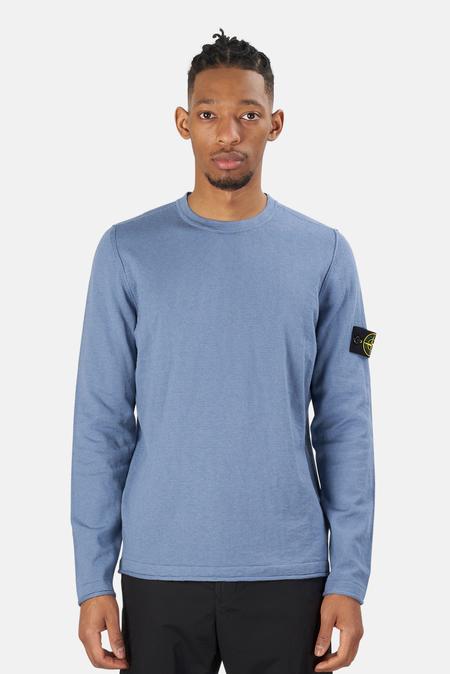 Stone Island Cotton Nylon Melange Crewneck Sweater - mid Blue