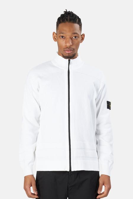Stone Island Cotton Knit Cardigan Sweater - White
