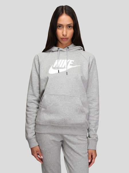 Nike W Essential Fleece Pullover Hoodie - Grey/White