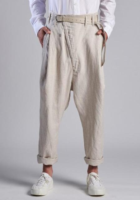 Syngman Cucala Asymmetric Dropseat Cotton Linen Pants - NATURAL