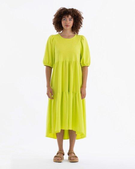 Ali Golden Party Dress - Highlighter Citron