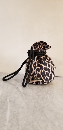 Ganni Recycled Tech Fabric Cinched Bag - Leopard