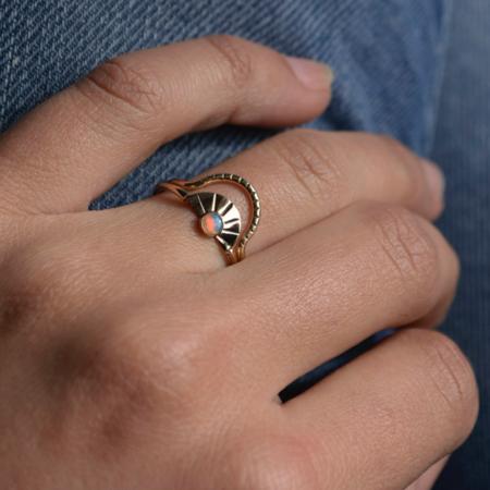 Gem & Blue Arc Opal Ring