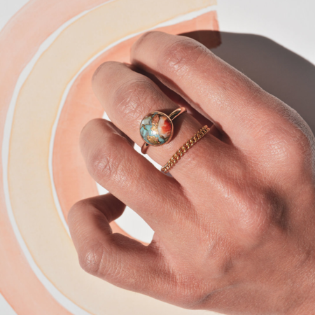 Gem & Blue Oyster Turquoise Ring