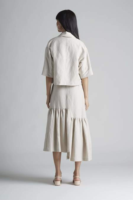 Christine Alcalay Double Breasted Notch Collar Linen Shacket