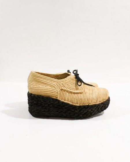 [pre-loved] Carven X Robert Clergerie Raffia Platform Shoes - Tan