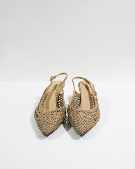 [pre-loved] Dolce & Gabbana Woven Slingback Pumps - Taupe