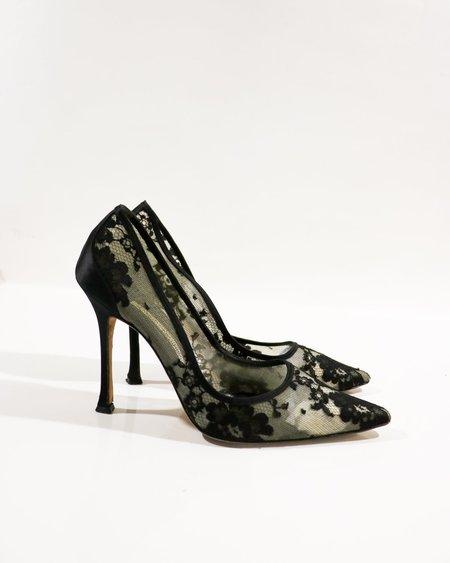[pre-loved] Manolo Blahnik Mesh Lace Pumps - Black