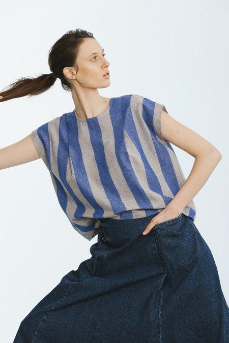 Carleen Pleat Shoulder Shell - Blue