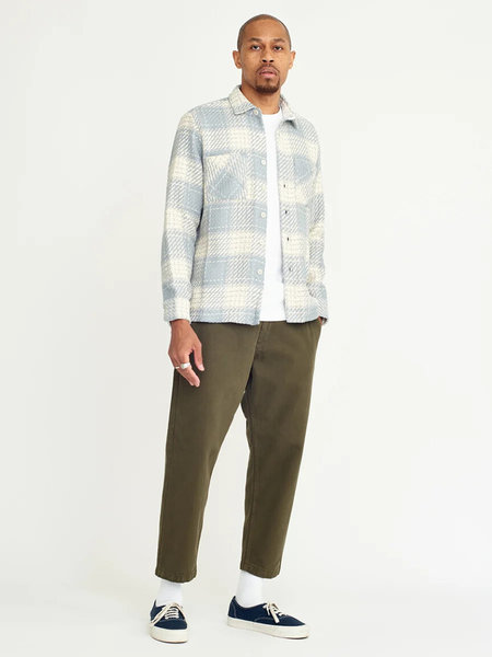 Wax London Whiting Overshirt - Ecru/Raindrop Check