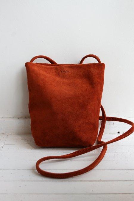 BAGGU Soft Crossbody Purse bag - Rust Suede