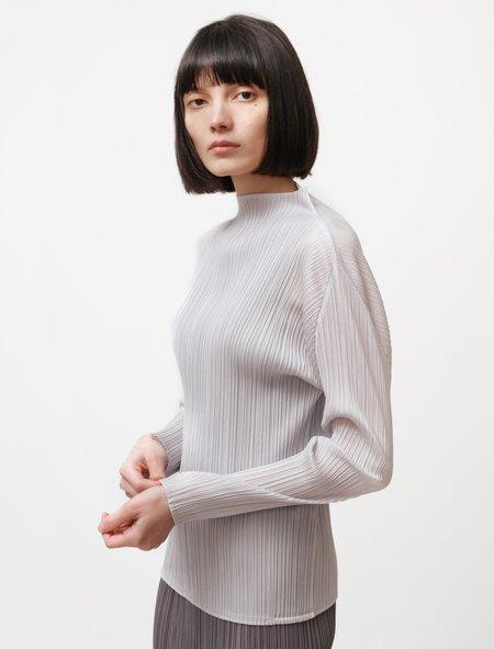 Pleats Please by Issey Miyake Basics Mockneck Long Sleeve top - Light Grey