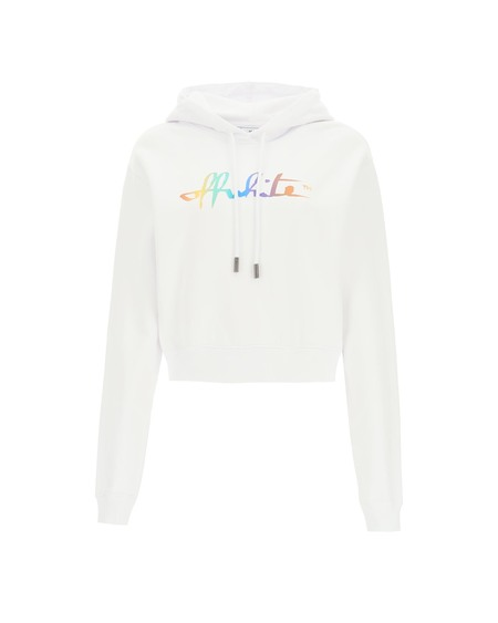 Off-White Crop Logo Rainbow Hoodie - white