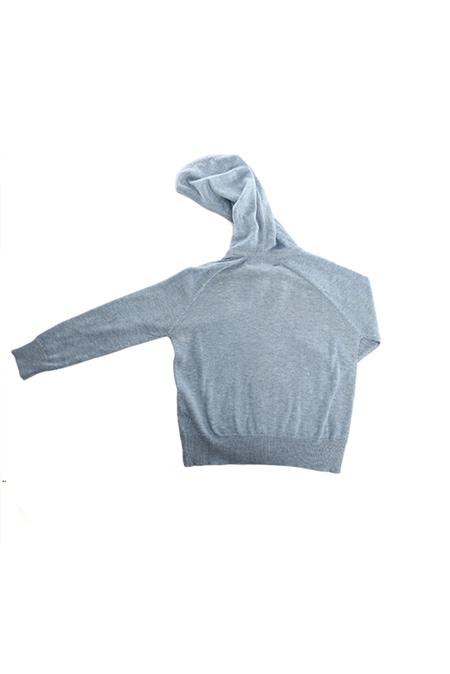 Kids Blue&Cream Cashmere Zip Hoody Sweater - Baby Blue