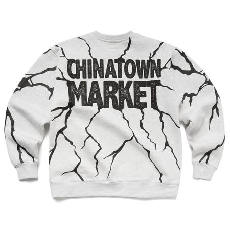 Chinatown Market Smiley Dry Wall Breaker Crewneck - Ash Gray