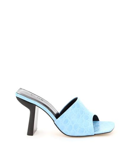 BY FAR Liliana Croc Print Sandals