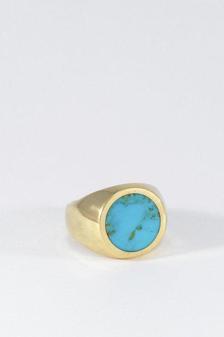 Legier Gold Turquoise Signet Ring - Round