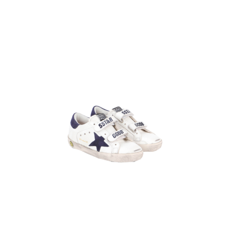 KIDS Golden Goose Old School Leather Sneakers with Suede Star GJF00111-F000418-10304 - white/blue