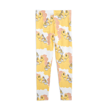 kids Mini Rodini Unicorn Noodles Leggings - Yellow