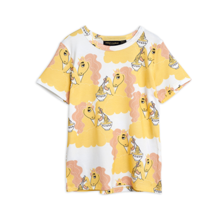 kids Mini Rodini Unicorn Noodles Tee - Yellow