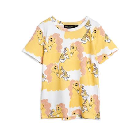 kids Mini Rodini Unicorn Noodles Tee - Yellow