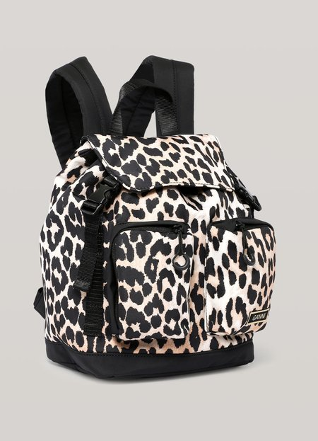 Ganni Recycled Tech Fabric Small Backpack - Leopard