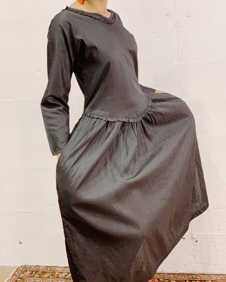 Vintage Silk Ruffle Dress - Black