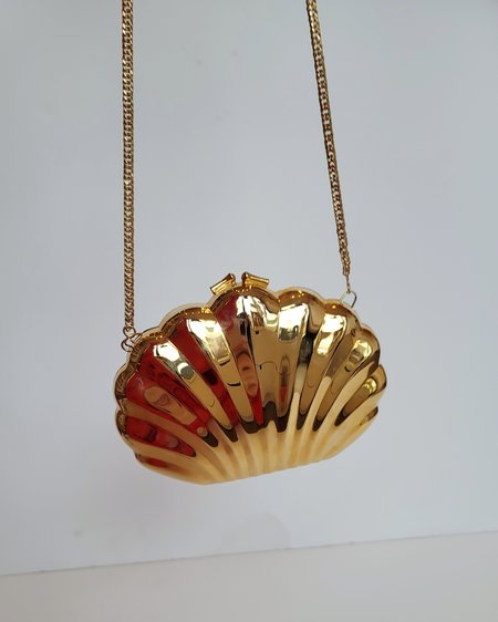 Vintage Metal Shell Purse - Gold