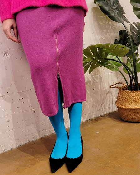 Vintage Rodier Wool Zipper Skirt - Berry