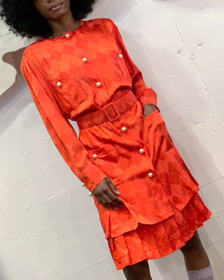 Vintage Silk Dress - Tangerine