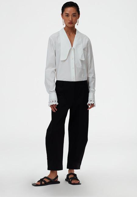 Tibi Organic Cotton Twill Sculpted Pant - Black