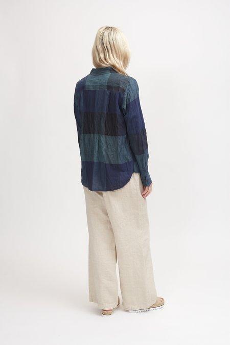 Pas de Calais Bamboo and Cotton Check Blouse - Green