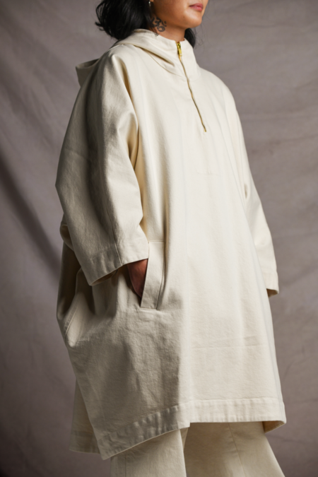 Mónica Cordera Chunky Hooded Poncho coat - Natural