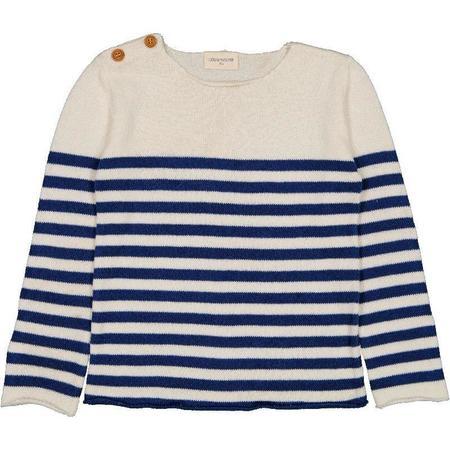 kids louis louise bobby cotton sweater - navy/off-white stripes