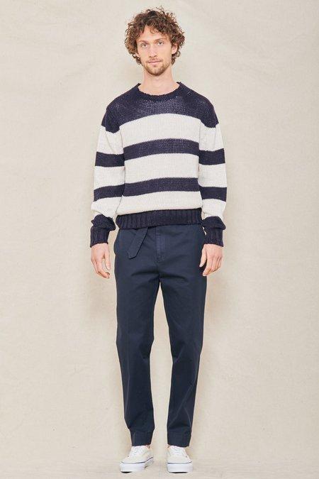 Officine Generale Marco Color Block Sweater - NAVY/ECRU