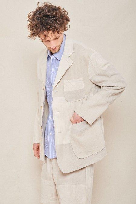 Sage de Cret Patchwork Tailored Jacket - NATURAL