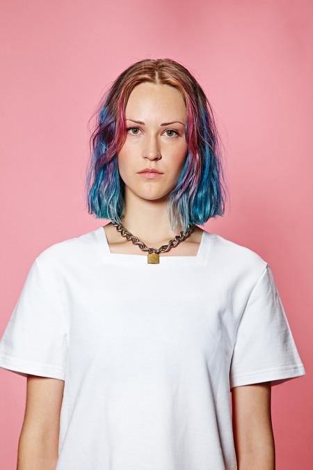 unisex UPNY Collar Squared top - white