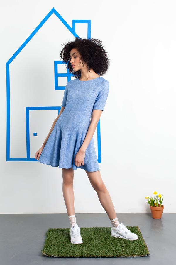 William Okpo Denim Shift Ruffle Dress
