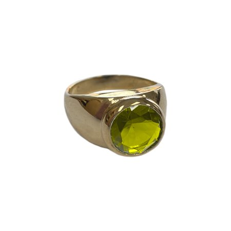 Luiny MONDRIAN RING - brass/GREEN CZ