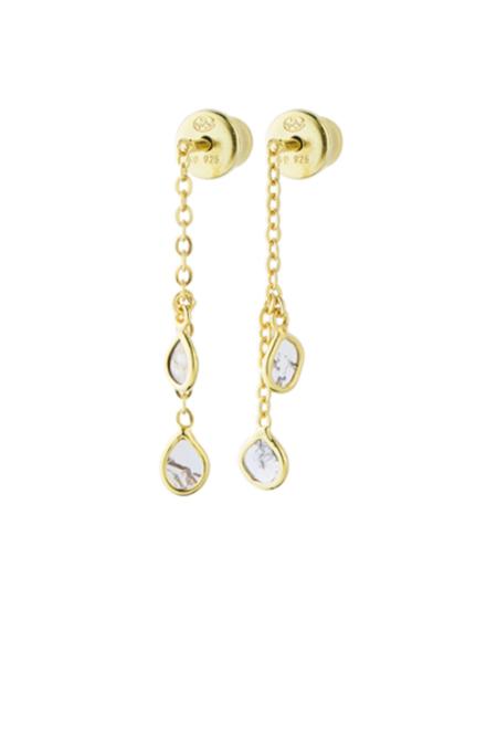Marie Laure Chamorel Gold & Crystal Tear Drop Earrings