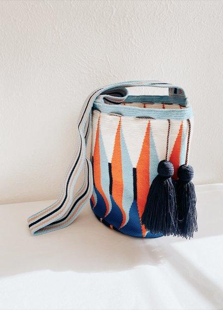 Susu Hand-Woven Bucket Bag - Navy/Orange
