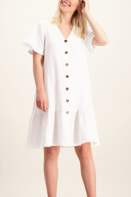 Kaiko Frill button dress - white